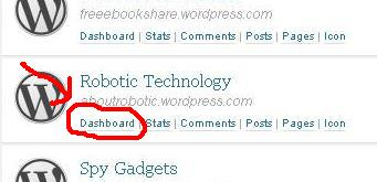 dashboard1 Cara MenDelete Blog di Wordpress
