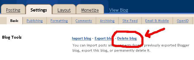 delete blogger